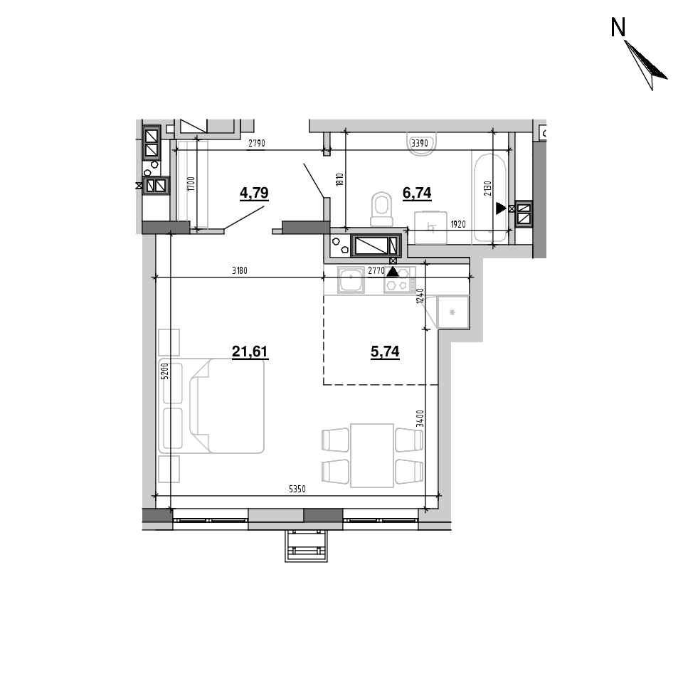 ЖК Підзамче. Вежа: планування 1-кімнатної квартири, №3, 38.88 м<sup>2</sup>