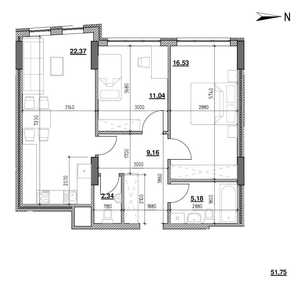 ЖК Голоські Кручі: планування 2-кімнатної квартири, №85, 66.49 м<sup>2</sup>