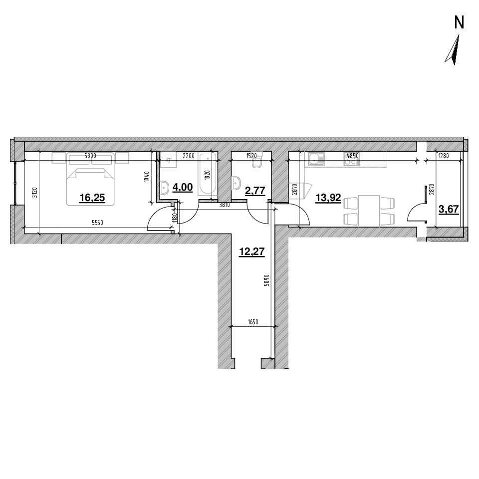 ЖК Шенген: планування 1-кімнатної квартири, №107, 50.97 м<sup>2</sup>
