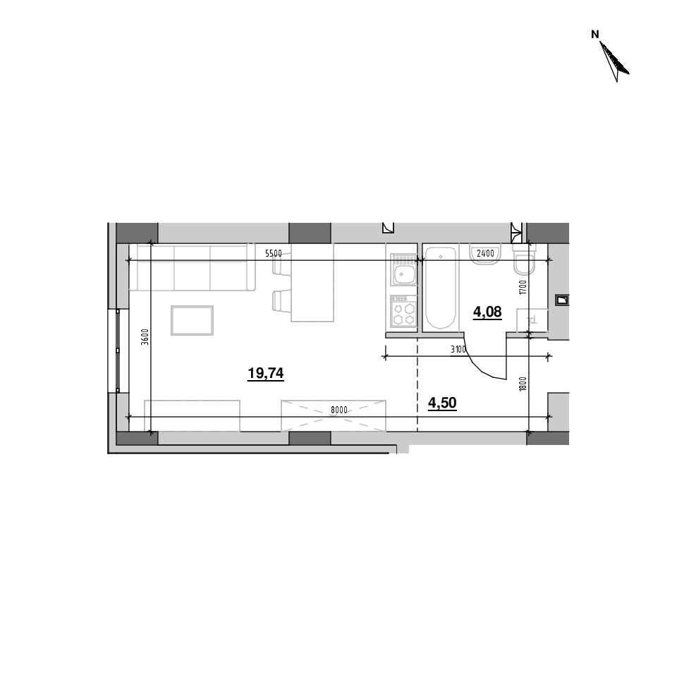 ЖК Riel City: планування 1-кімнатної квартири, №143, 28.32 м<sup>2</sup>