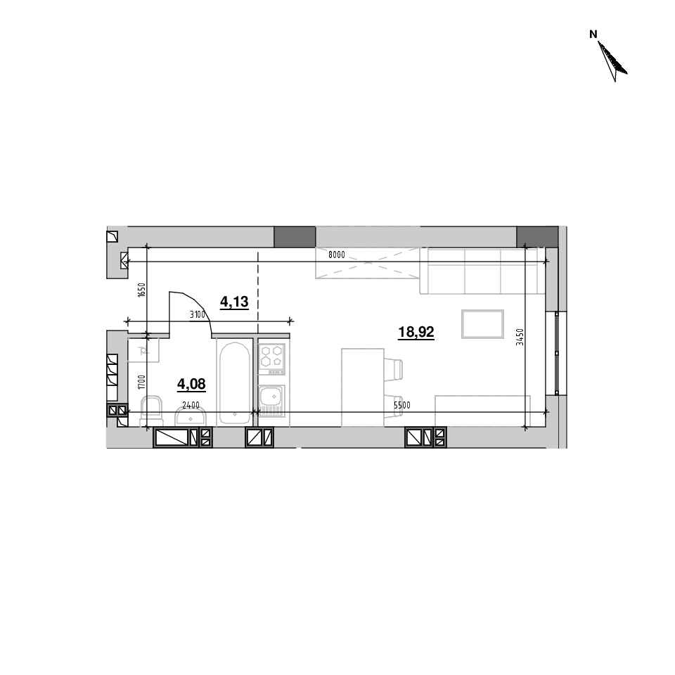 ЖК Riel City: планування 1-кімнатної квартири, №115, 27.12 м<sup>2</sup>