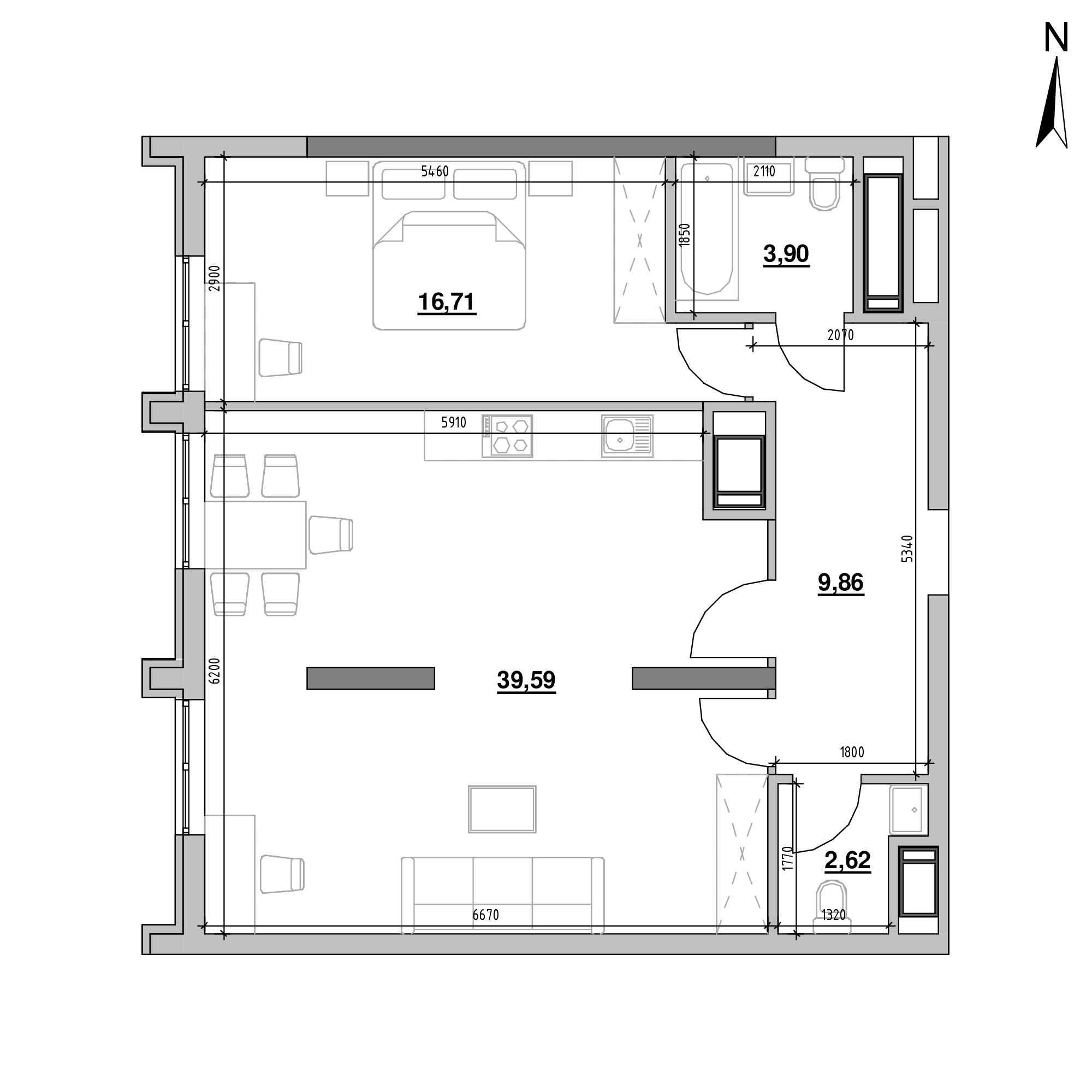 ЖК Nordica Residence: планування 1-кімнатної квартири, №5, 72.68 м<sup>2</sup>