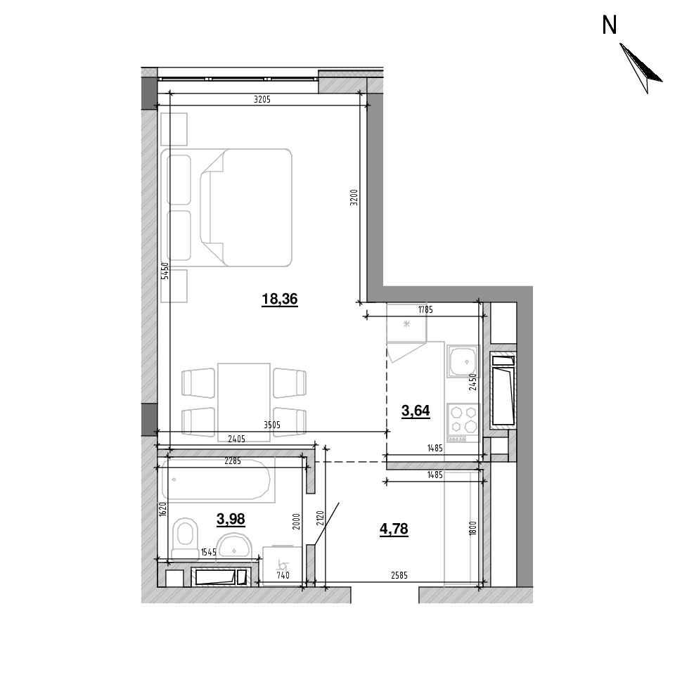 ЖК Підзамче. Вежа: планування 1-кімнатної квартири, №4, 30.76 м<sup>2</sup>