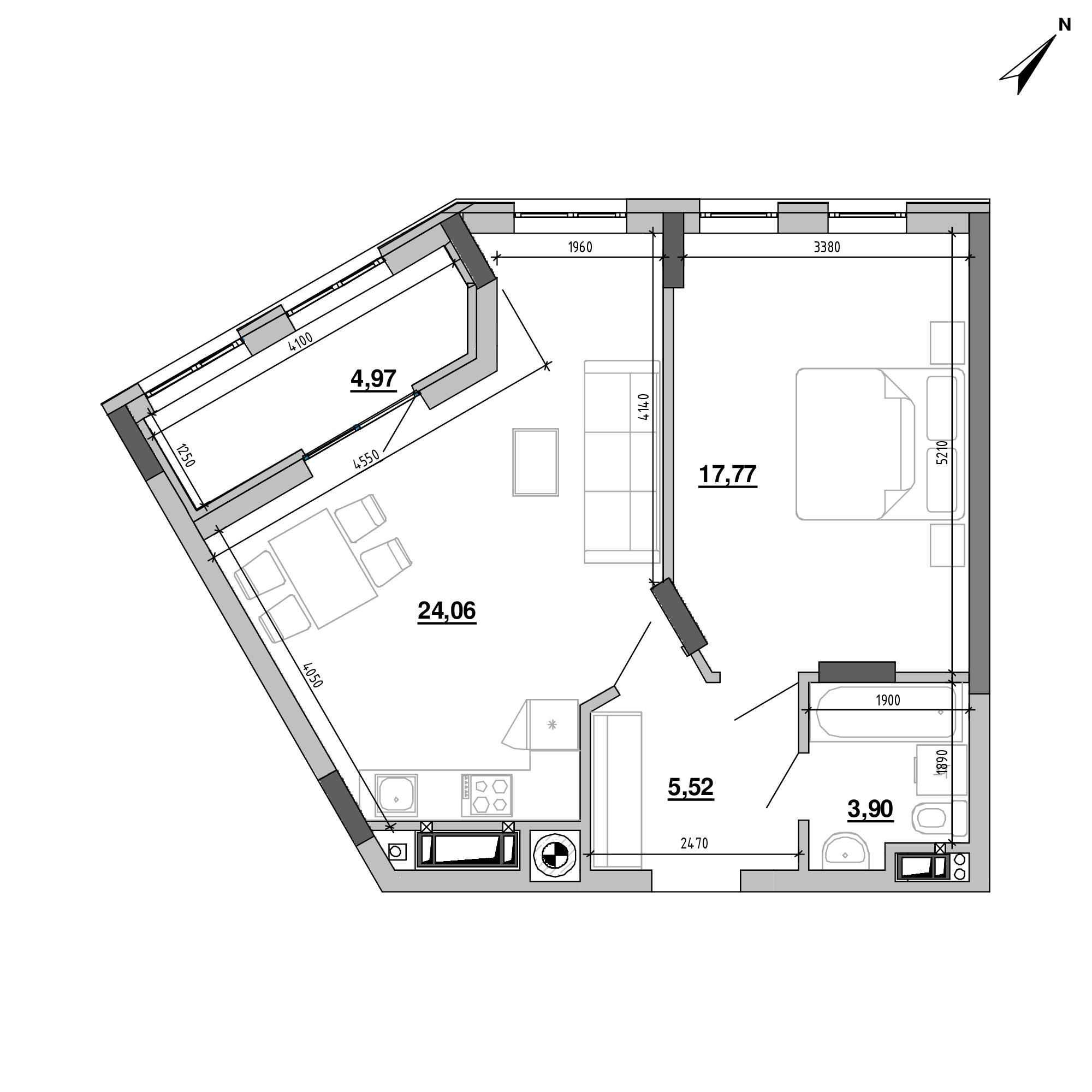 ЖК Підзамче. Вежа: планування 1-кімнатної квартири, №64, 56.22 м<sup>2</sup>