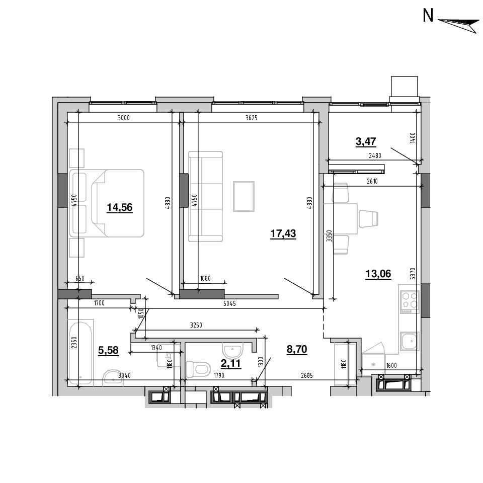 ЖК Підзамче. Новий Форт: планування 2-кімнатної квартири, №4, 64.91 м<sup>2</sup>