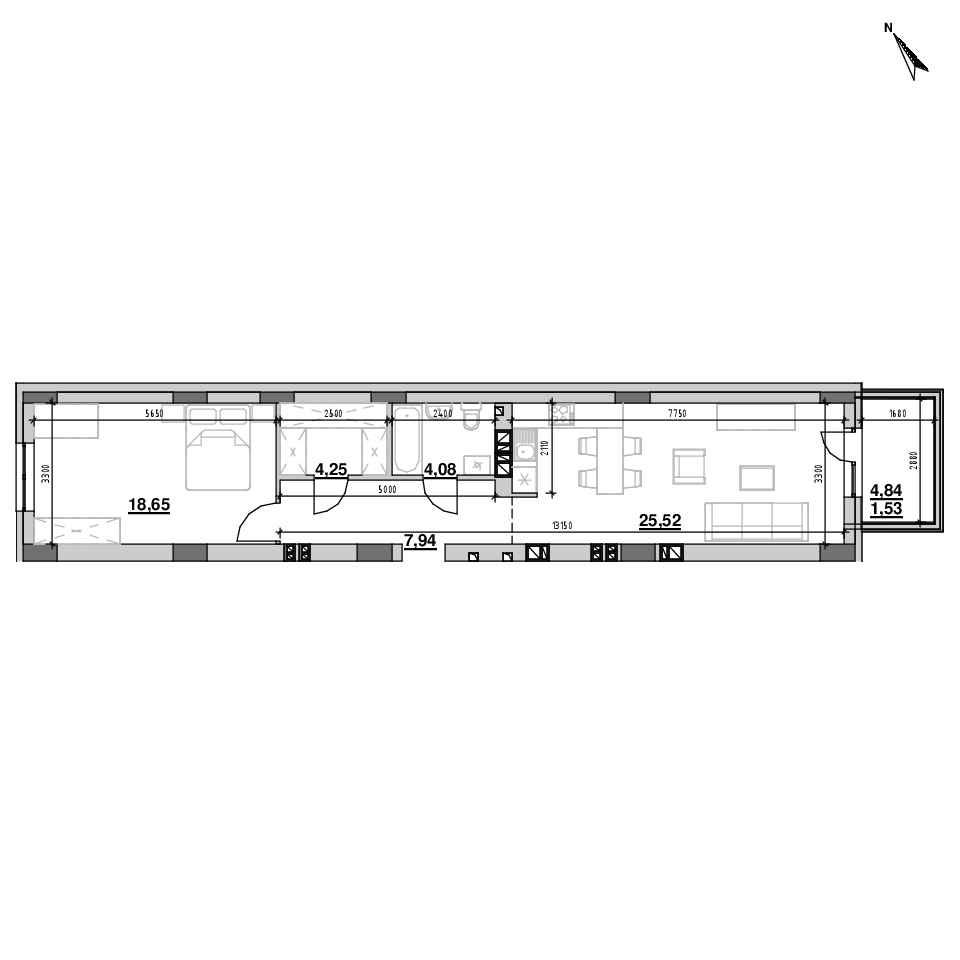 ЖК Riel City: планування 1-кімнатної квартири, №69, 58.98 м<sup>2</sup>
