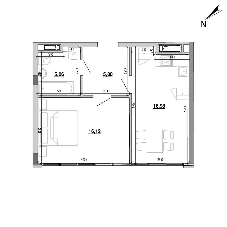 ЖК Підзамче. Вежа: планування 1-кімнатної квартири, №1, 44.04 м<sup>2</sup>