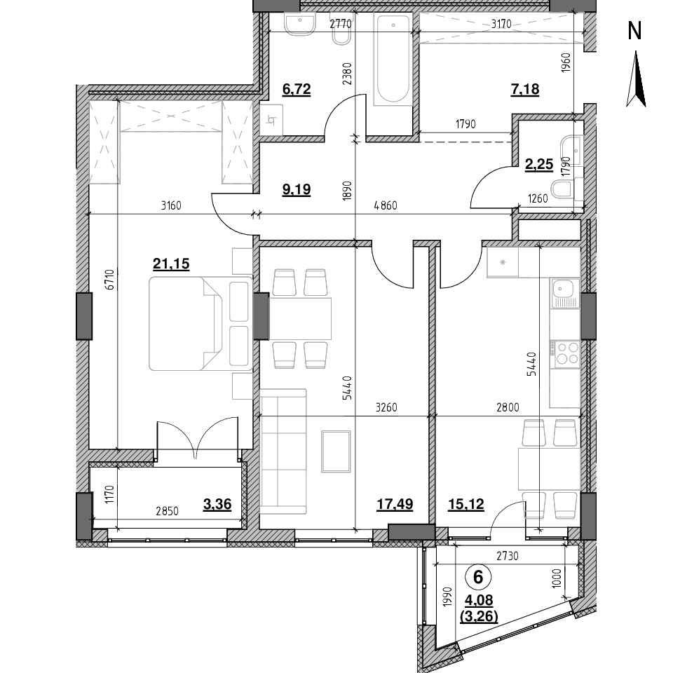 ЖК Голоські Кручі: планування 2-кімнатної квартири, №11, 85.72 м<sup>2</sup>