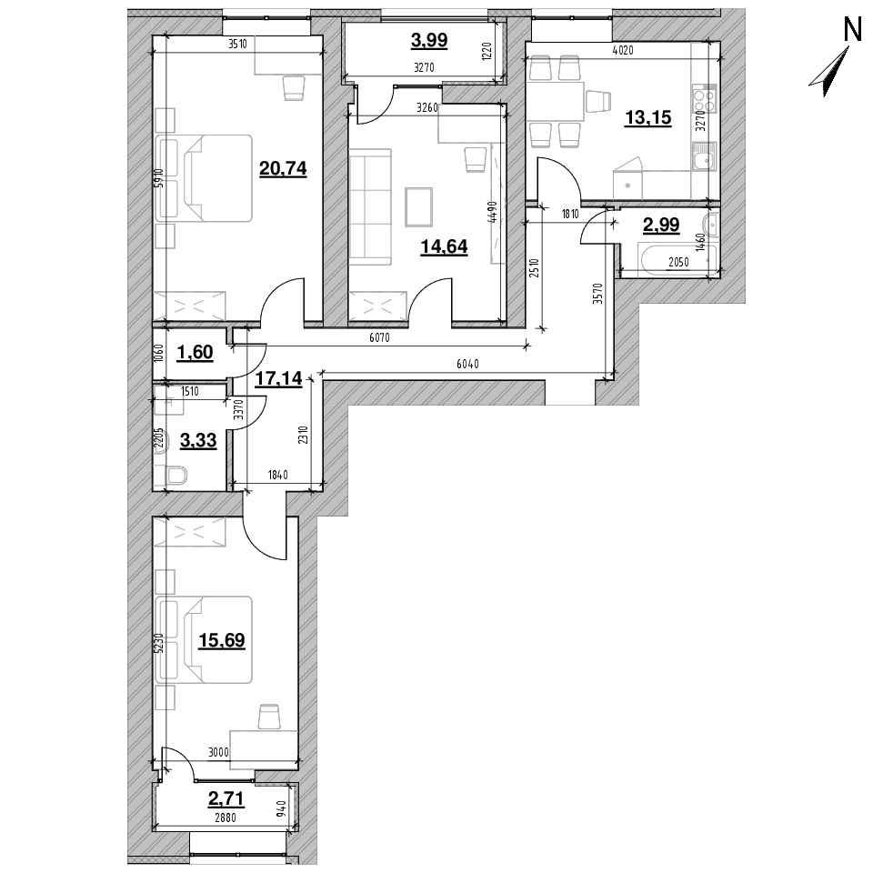 ЖК Шенген: планування 3-кімнатної квартири, №60, 95.98 м<sup>2</sup>