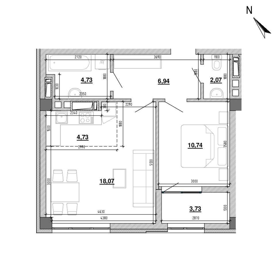 ЖК Підзамче. Вежа: планування 2-кімнатної квартири, №2, 50.86 м<sup>2</sup>