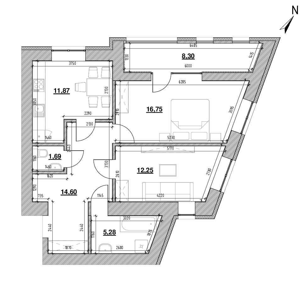 ЖК Шенген: планування 2-кімнатної квартири, №32, 70.74 м<sup>2</sup>