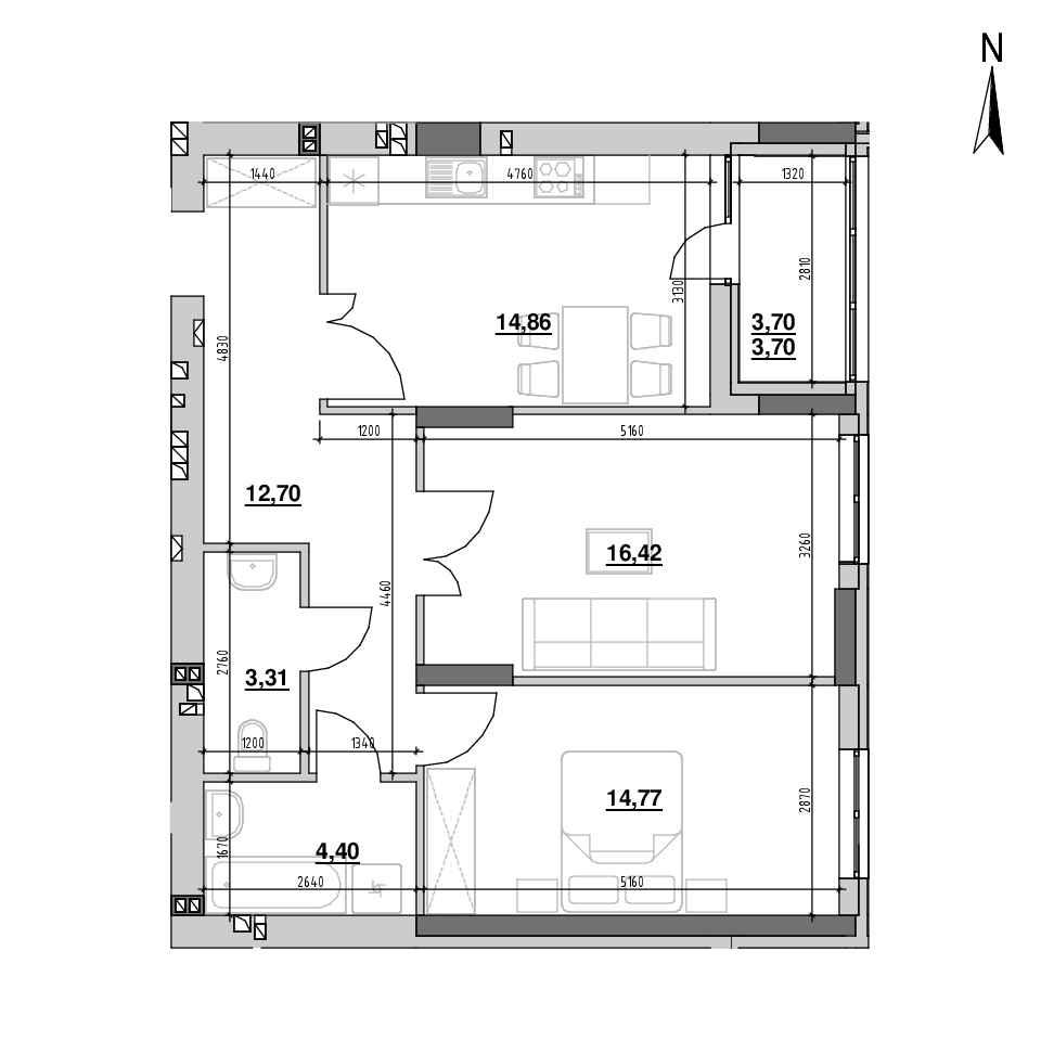 ЖК Riel City: планування 2-кімнатної квартири, №86, 70.16 м<sup>2</sup>