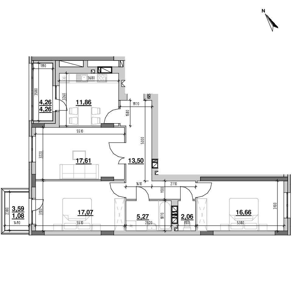 ЖК Riel City: планування 3-кімнатної квартири, №50, 89.4 м<sup>2</sup>