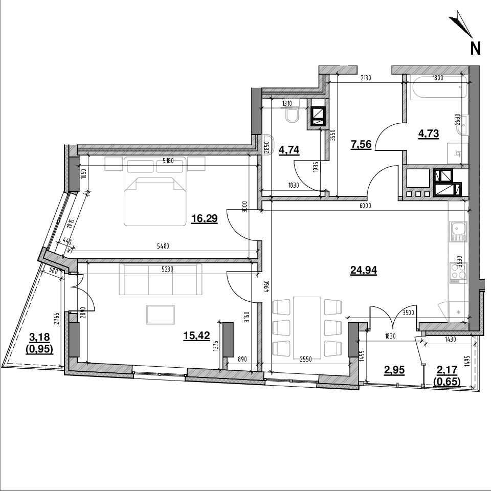ЖК Ярославенка: планування 2-кімнатної квартири, №8, 78.23 м<sup>2</sup>