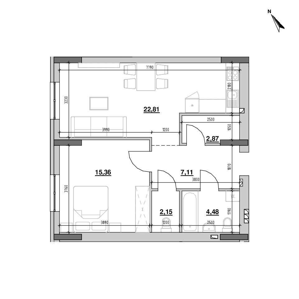 ЖК Riel City: планування 1-кімнатної квартири, №152и, 55.14 м<sup>2</sup>