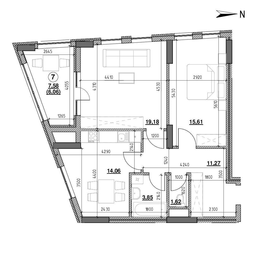 ЖК Голоські Кручі: планування 2-кімнатної квартири, №84, 71.65 м<sup>2</sup>