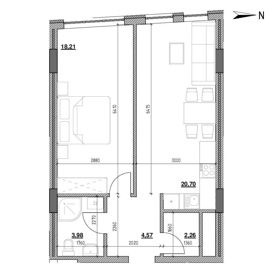 ЖК Голоські Кручі: планування 1-кімнатної квартири, №162, 49.72 м<sup>2</sup>