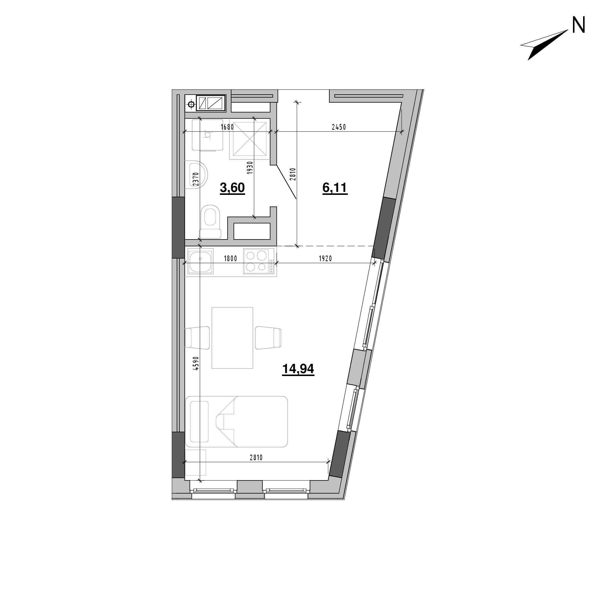 ЖК Підзамче. Новий Форт: планування 1-кімнатної квартири, №17б, 24.65 м<sup>2</sup>
