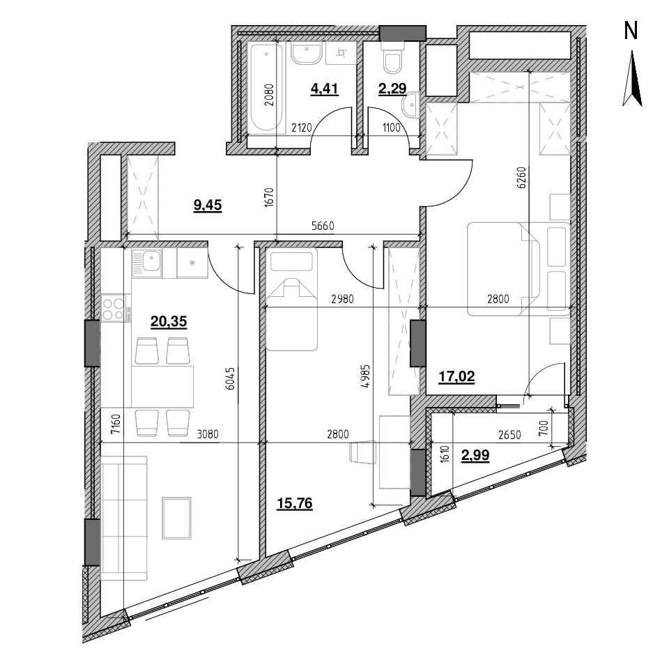 ЖК Голоські Кручі: планування 2-кімнатної квартири, №45, 72.27 м<sup>2</sup>