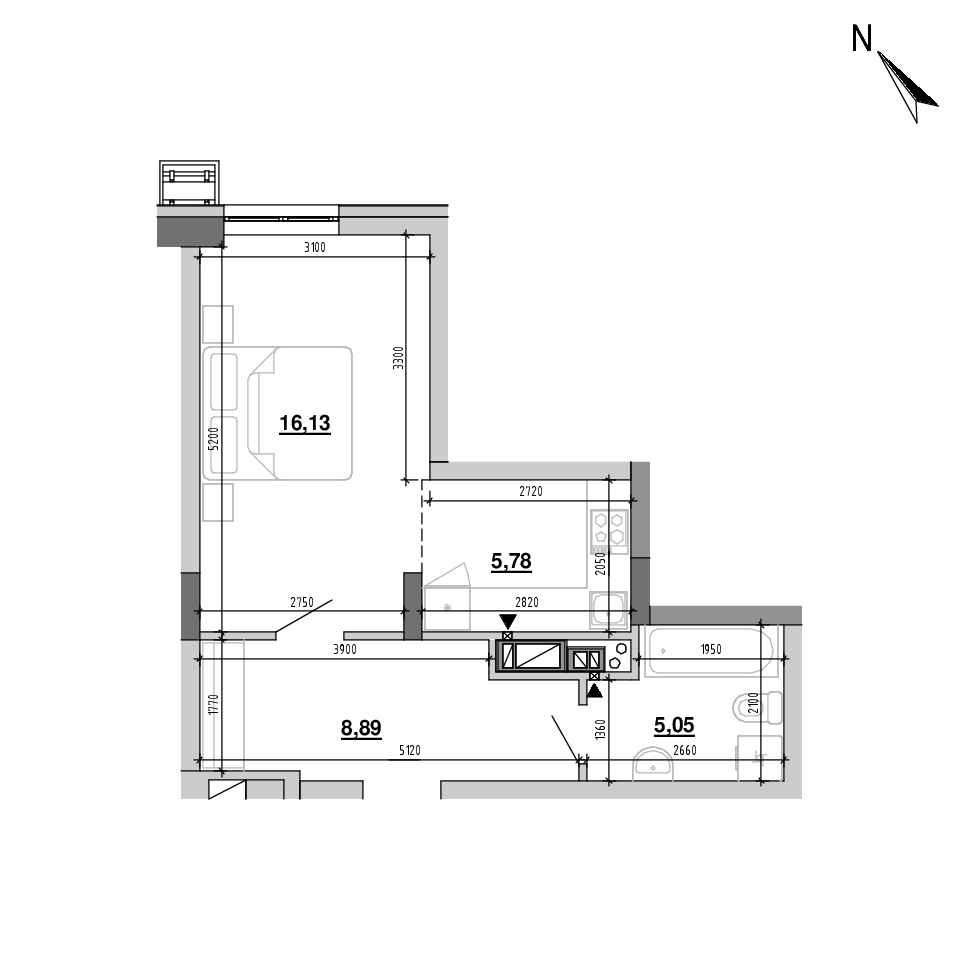 ЖК Підзамче. Вежа: планування 1-кімнатної квартири, №11, 35.85 м<sup>2</sup>