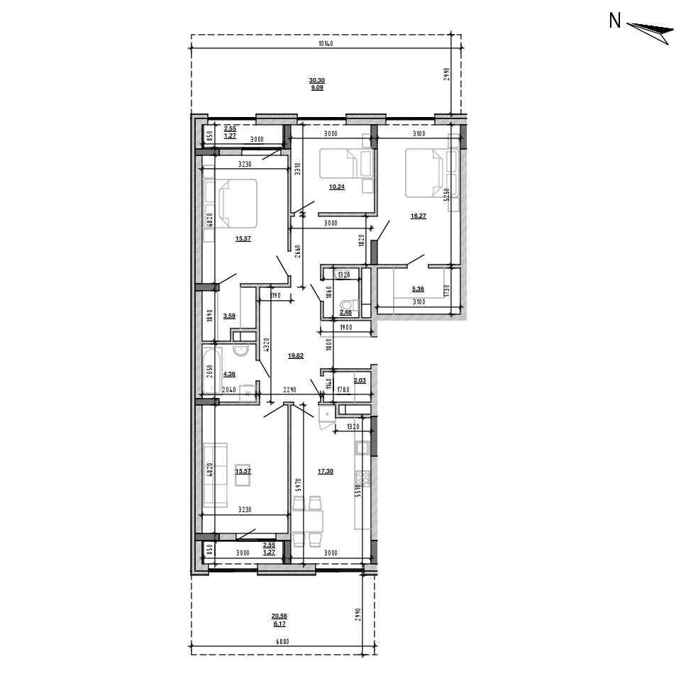 ЖК Підзамче. Брама: планування 4-кімнатної квартири, №6, 130.37 м<sup>2</sup>
