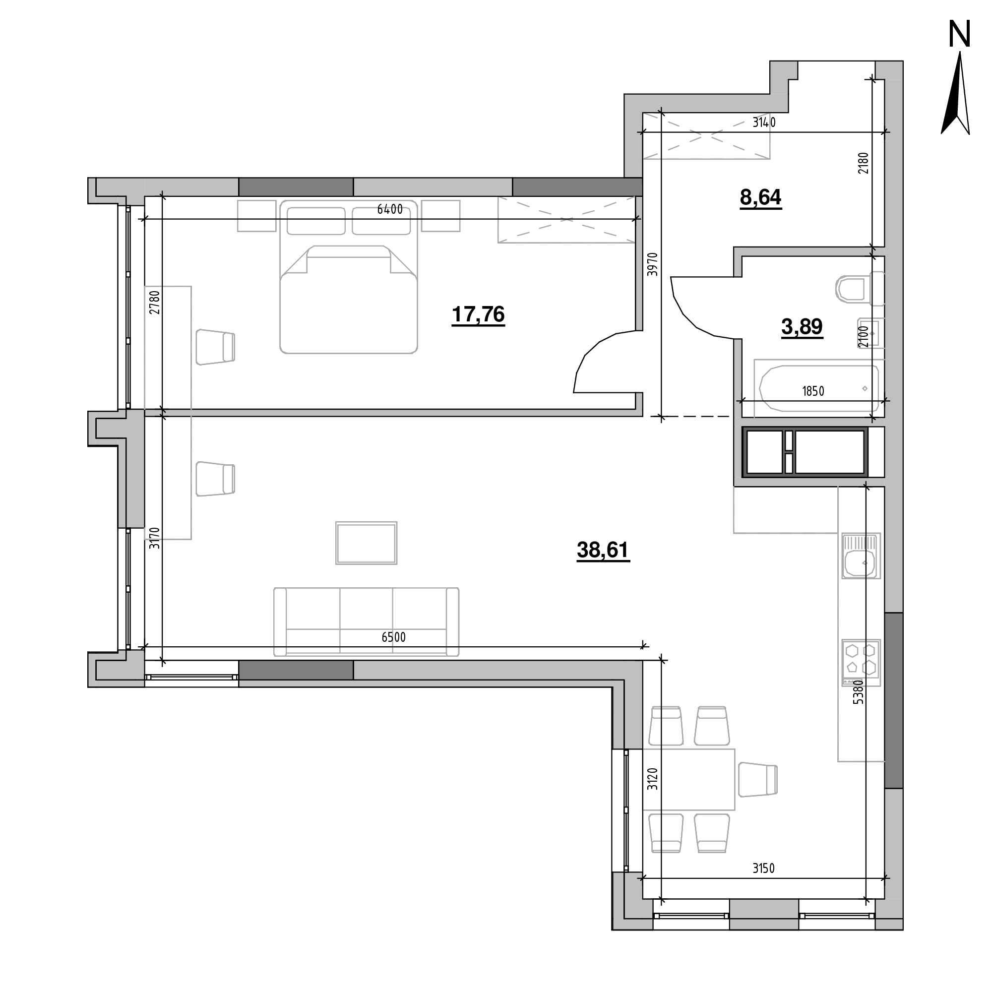 ЖК Nordica Residence: планування 1-кімнатної квартири, №3, 68.9 м<sup>2</sup>