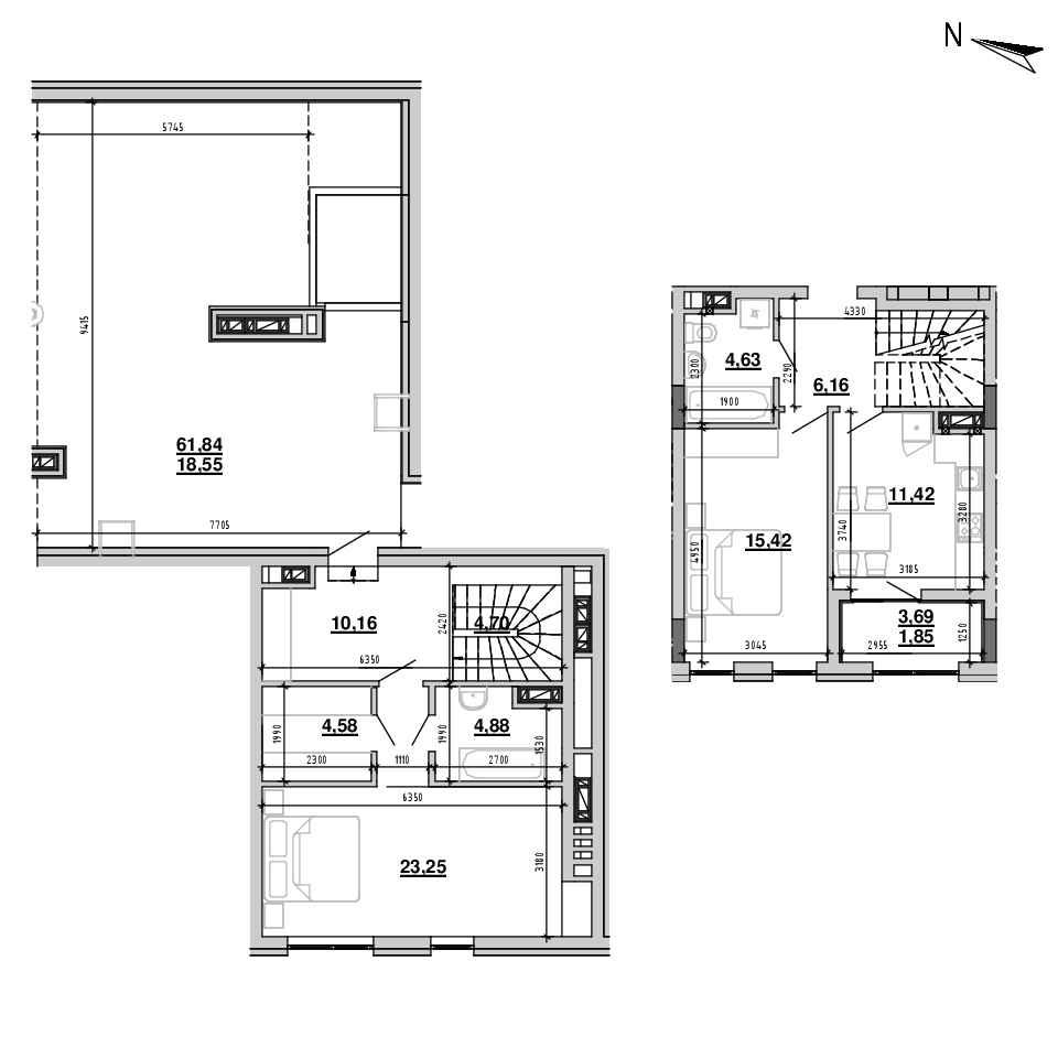 ЖК Підзамче. Брама: планування 2-кімнатної квартири, №26, 105.6 м<sup>2</sup>