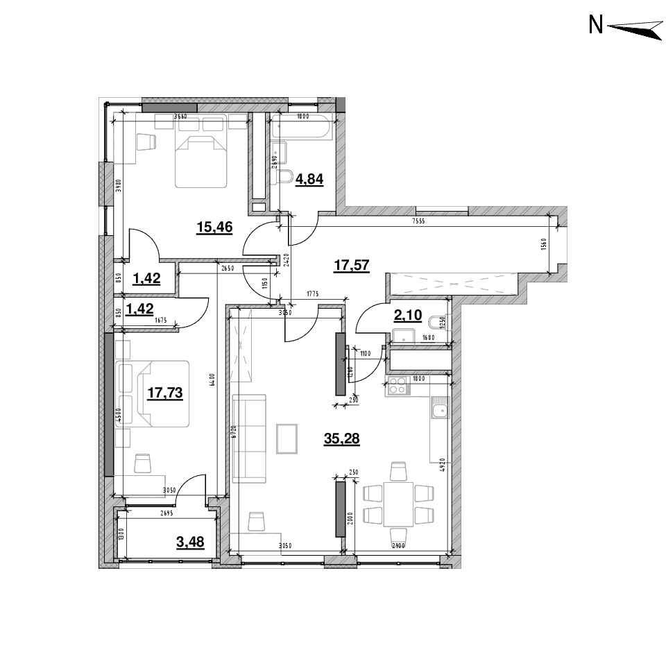 ЖК Nordica Residence: планування 2-кімнатної квартири, №70, 99.3 м<sup>2</sup>