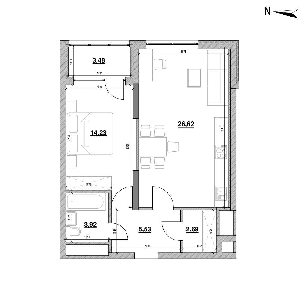 ЖК Nordica Residence: планування 1-кімнатної квартири, №162, 56.47 м<sup>2</sup>