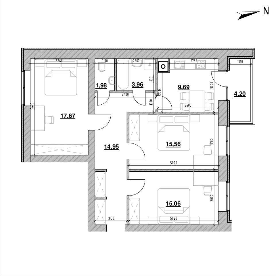 ЖК Компаньйон: планування 3-кімнатної квартири, №1, 80.13 м<sup>2</sup>