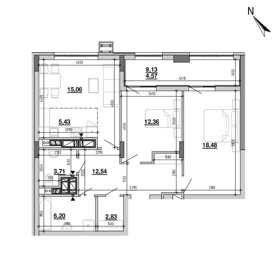 ЖК Підзамче. Вежа: планування 3-кімнатної квартири, №50, 81.18 м<sup>2</sup>