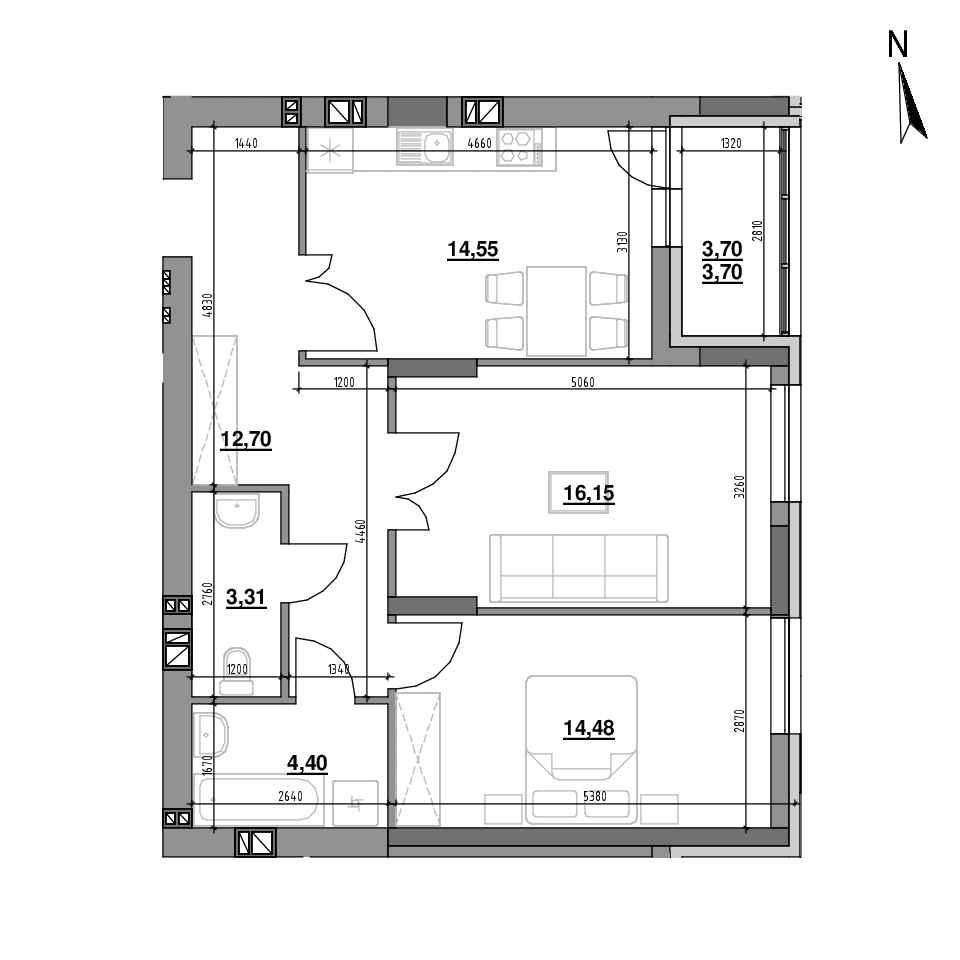 ЖК Riel City: планування 2-кімнатної квартири, №79, 69.29 м<sup>2</sup>