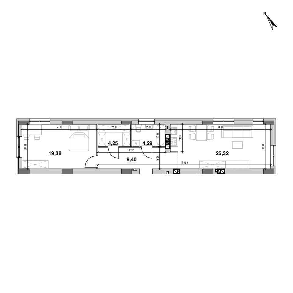 ЖК Riel City: планування 1-кімнатної квартири, №107, 62.8 м<sup>2</sup>