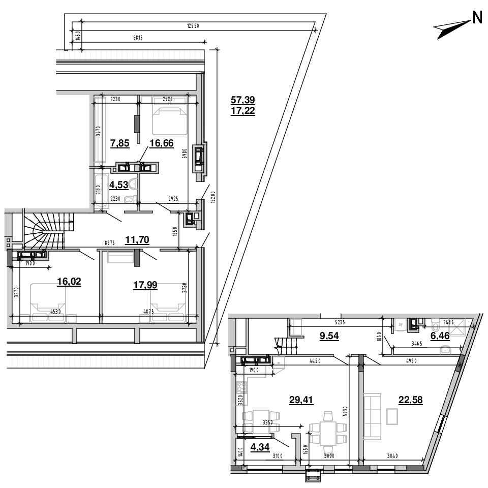 ЖК Підзамче. Новий Форт: планування 4-кімнатної квартири, №33, 164.3 м<sup>2</sup>
