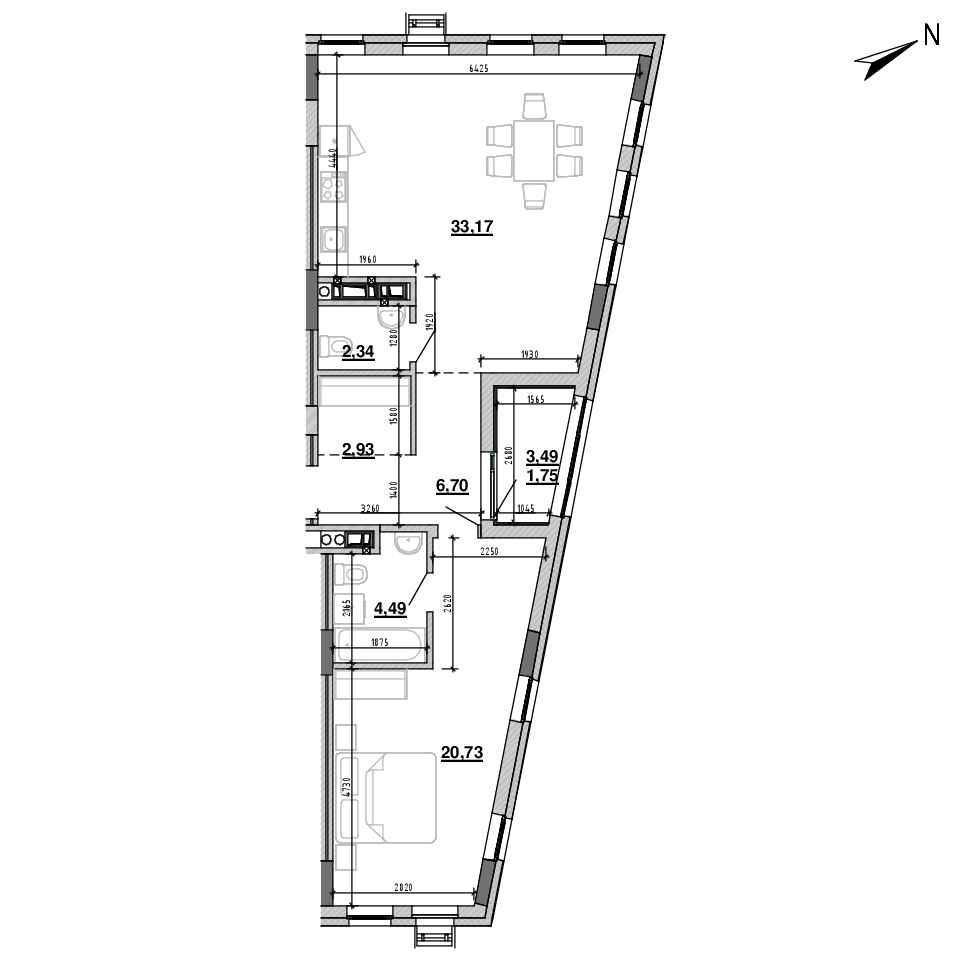 ЖК Підзамче. Новий Форт: планування 1-кімнатної квартири, №49, 72.11 м<sup>2</sup>