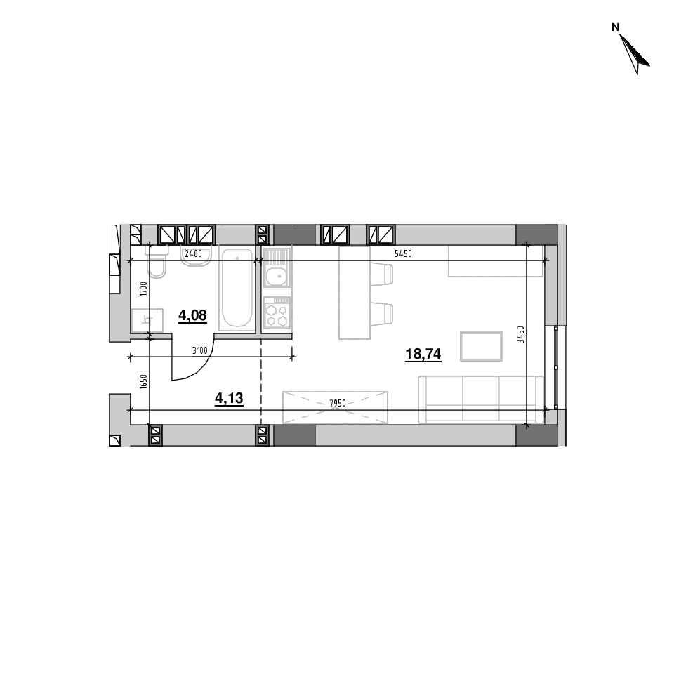 ЖК Riel City: планування 1-кімнатної квартири, №205, 26.94 м<sup>2</sup>