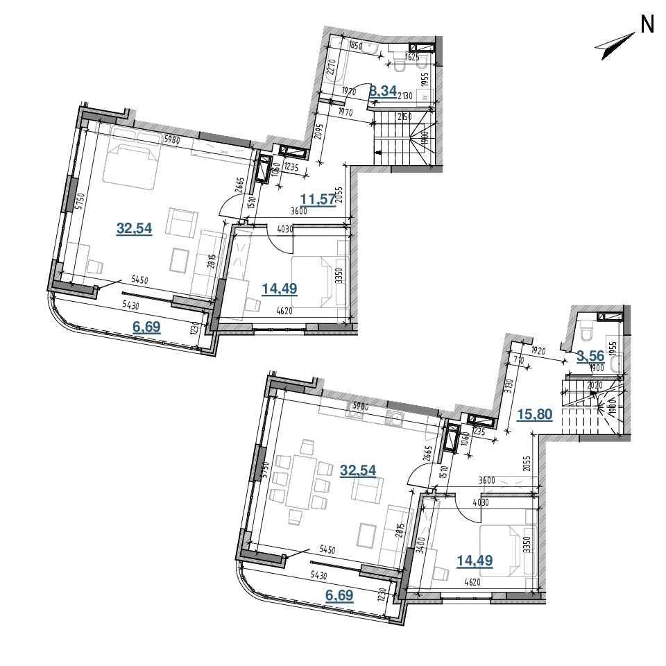 ЖК Берег Дніпра: планування 3-кімнатної квартири, №301, 146.71 м<sup>2</sup>