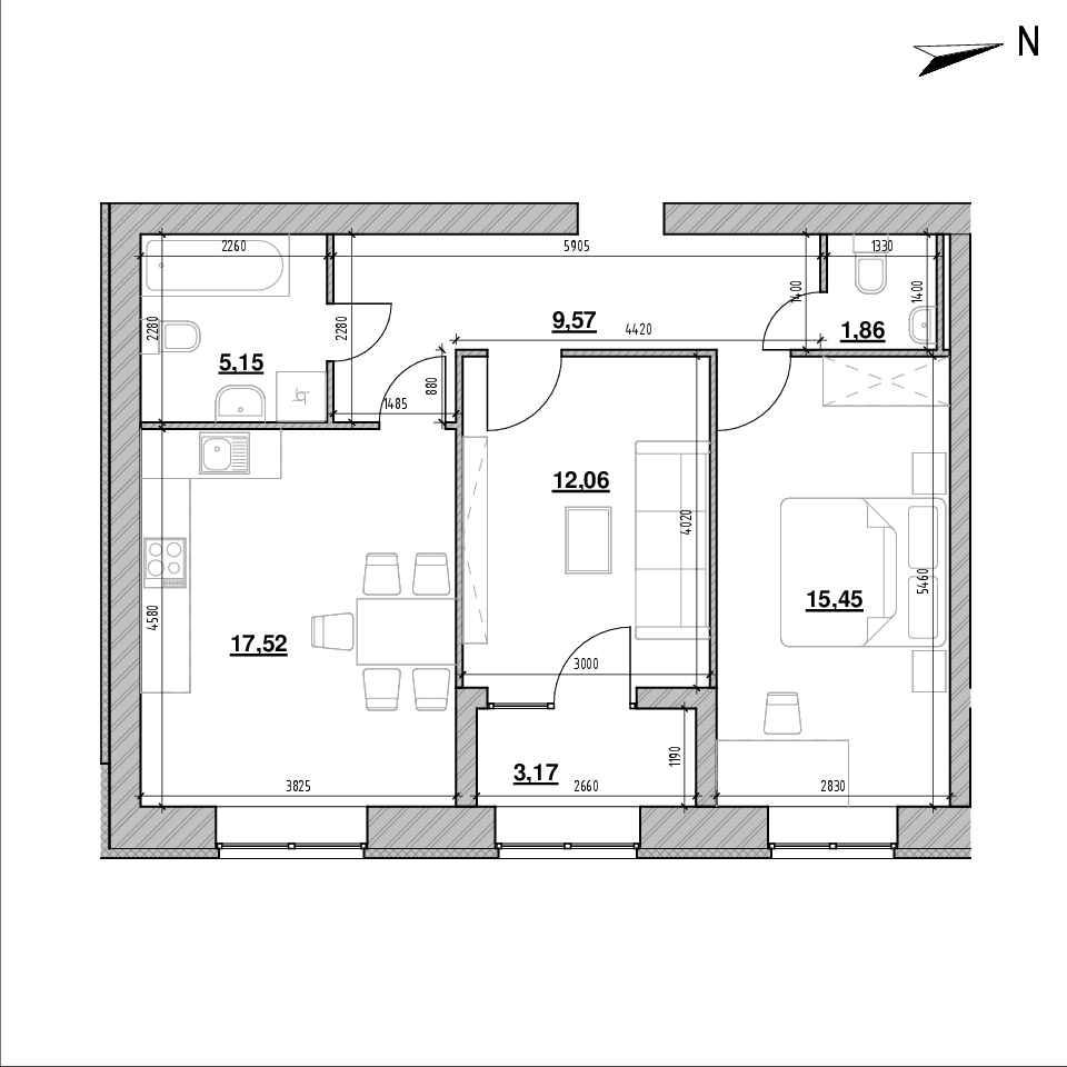 ЖК Компаньйон: планування 2-кімнатної квартири, №103в, 64.78 м<sup>2</sup>