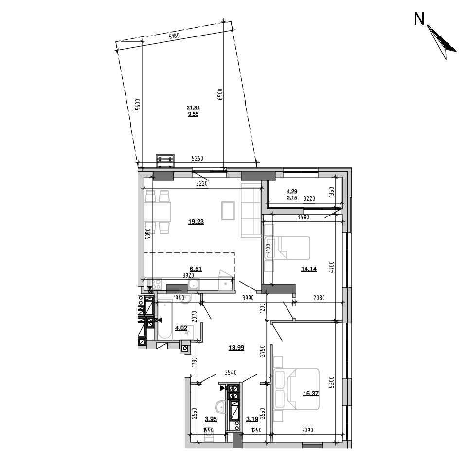 ЖК Підзамче. Вежа: планування 3-кімнатної квартири, №27, 93.1 м<sup>2</sup>