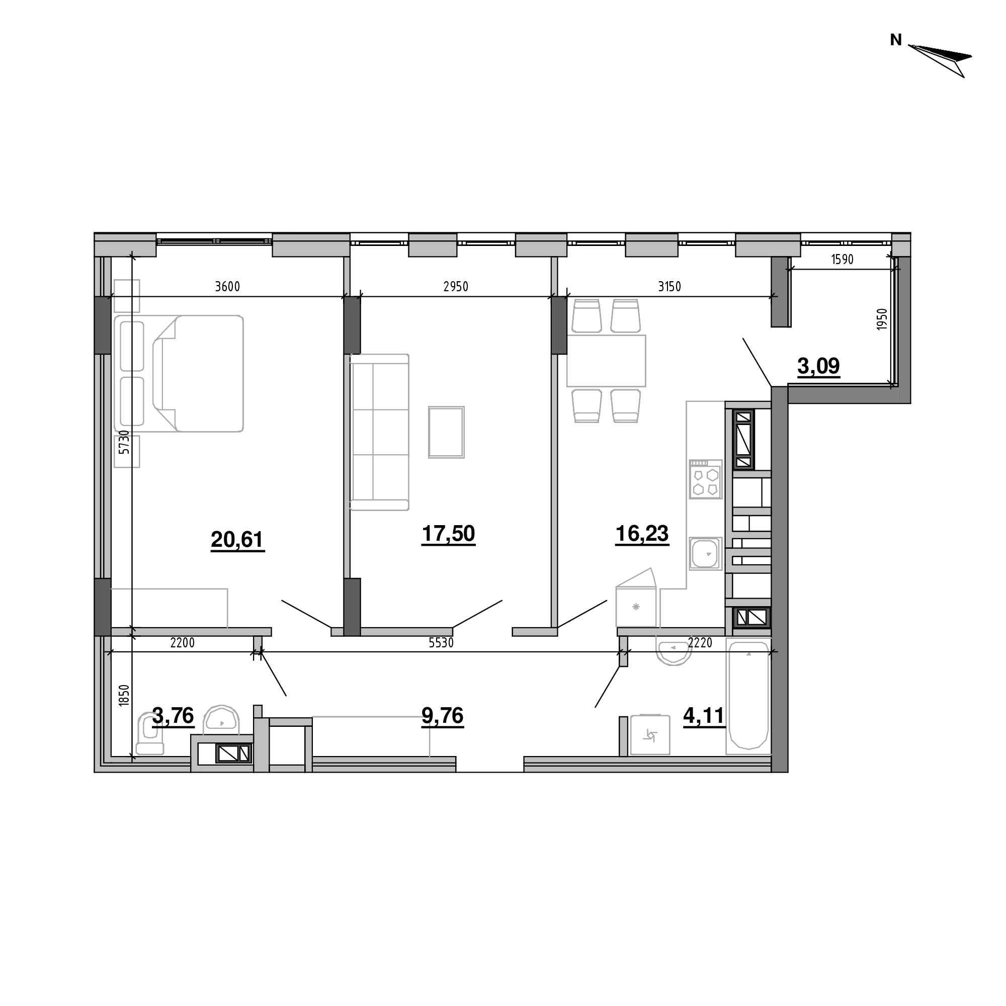 ЖК Підзамче. Брама: планування 2-кімнатної квартири, №30, 75.06 м<sup>2</sup>