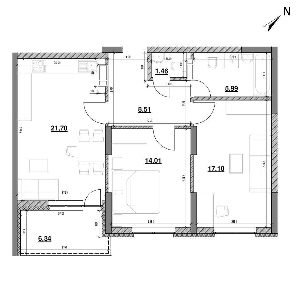 ЖК Оk'Land: планування 2-кімнатної квартири, №282, 77.13 м<sup>2</sup>