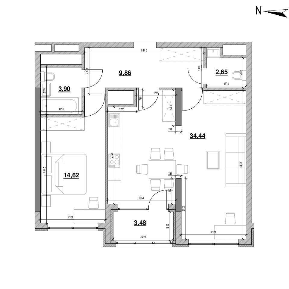 ЖК Nordica Residence: планування 1-кімнатної квартири, №5, 68.95 м<sup>2</sup>