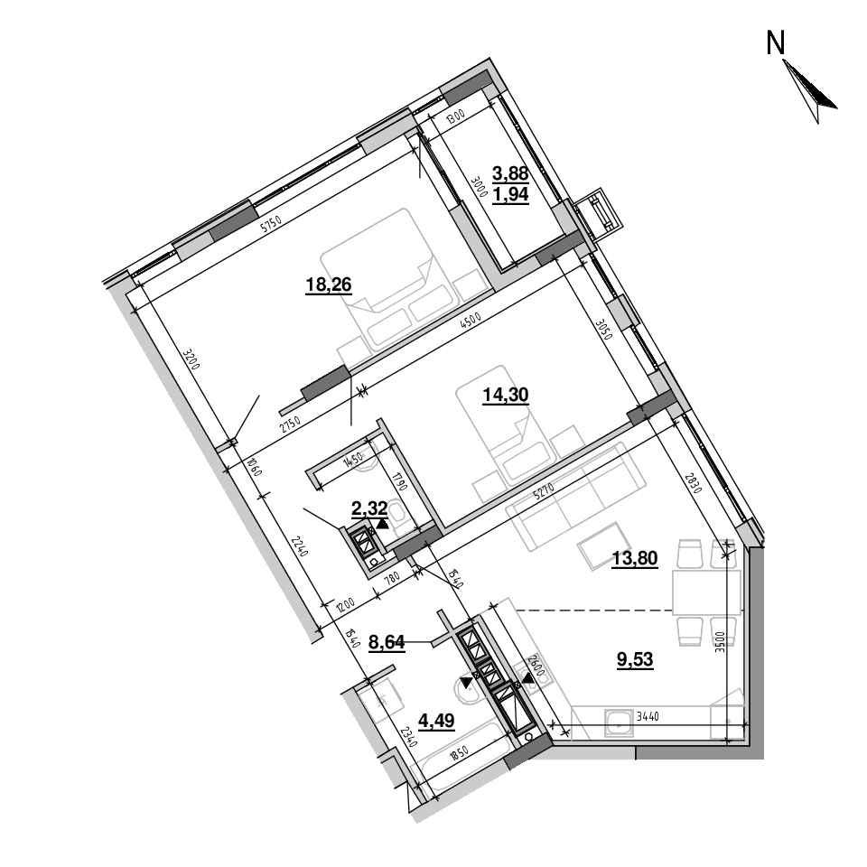 ЖК Підзамче. Вежа: планування 3-кімнатної квартири, №30, 73.28 м<sup>2</sup>