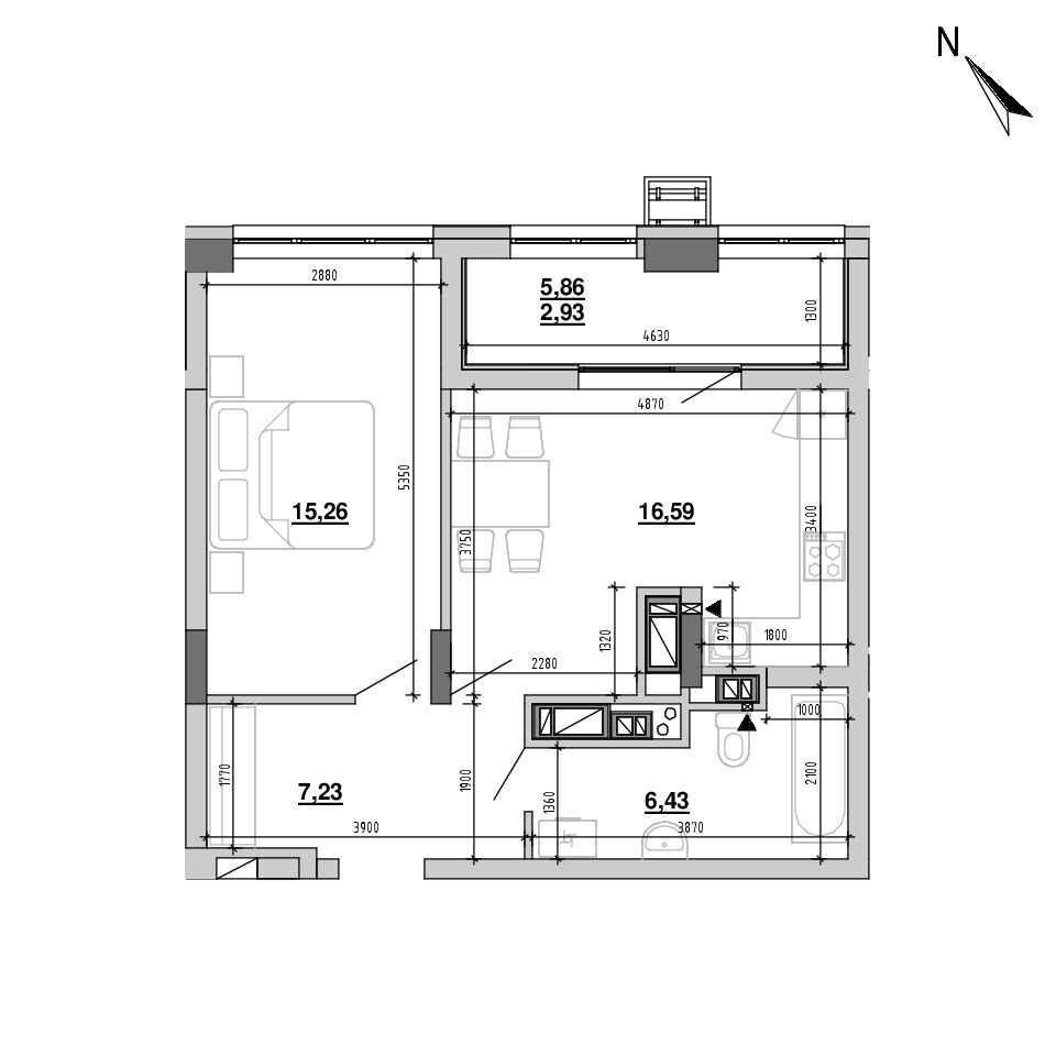 ЖК Підзамче. Вежа: планування 1-кімнатної квартири, №53, 48.44 м<sup>2</sup>