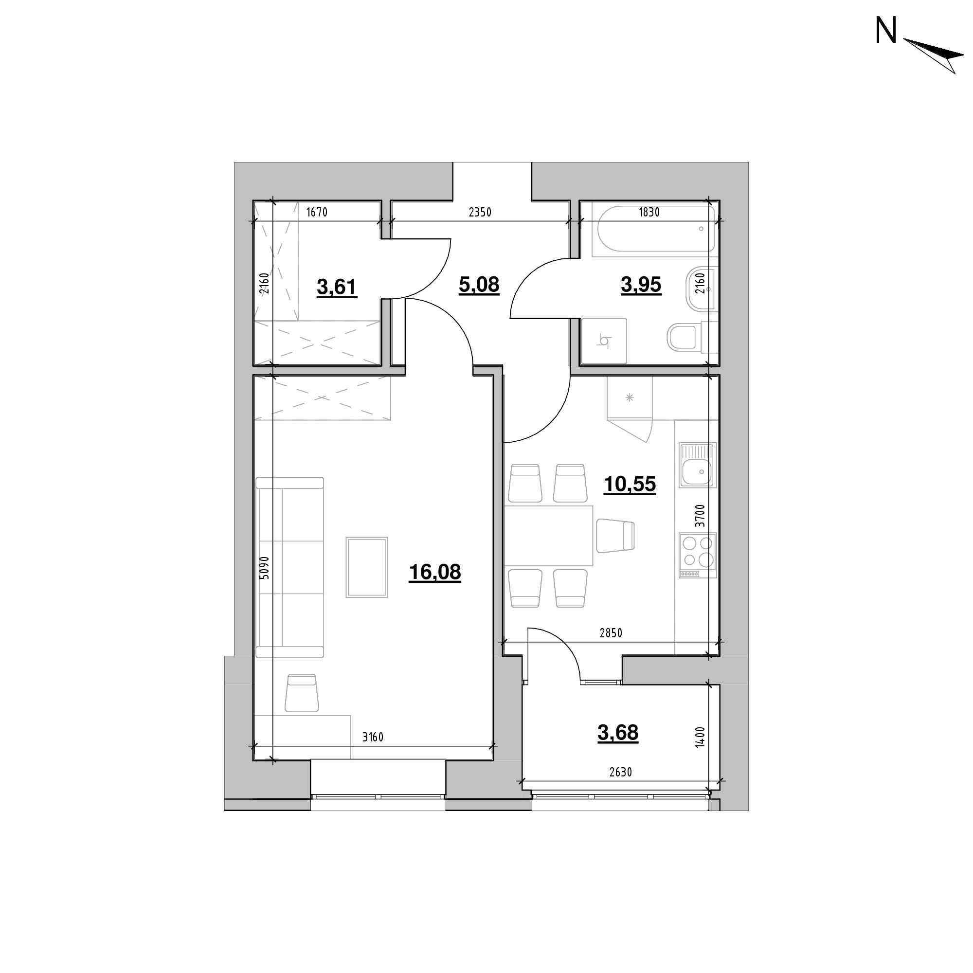 ЖК Шенген: планування 1-кімнатної квартири, №52, 42.95 м<sup>2</sup>