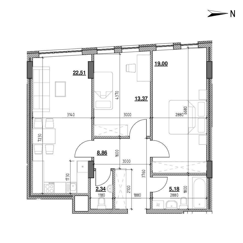 ЖК Голоські Кручі: планування 2-кімнатної квартири, №161, 71.26 м<sup>2</sup>