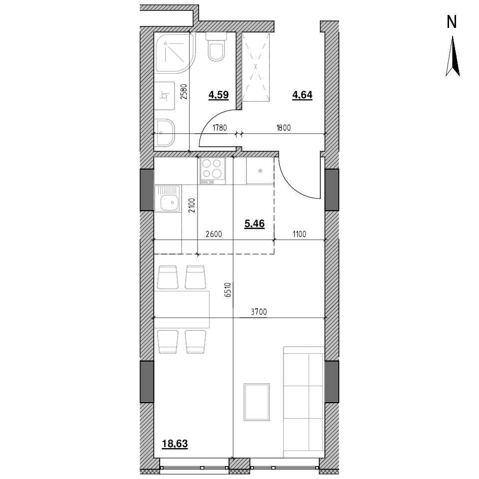 ЖК Голоські Кручі: планування 1-кімнатної квартири, №49, 33.32 м<sup>2</sup>