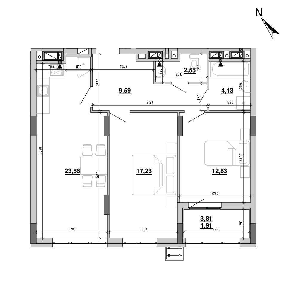 ЖК Підзамче. Вежа: планування 2-кімнатної квартири, №33, 71.8 м<sup>2</sup>