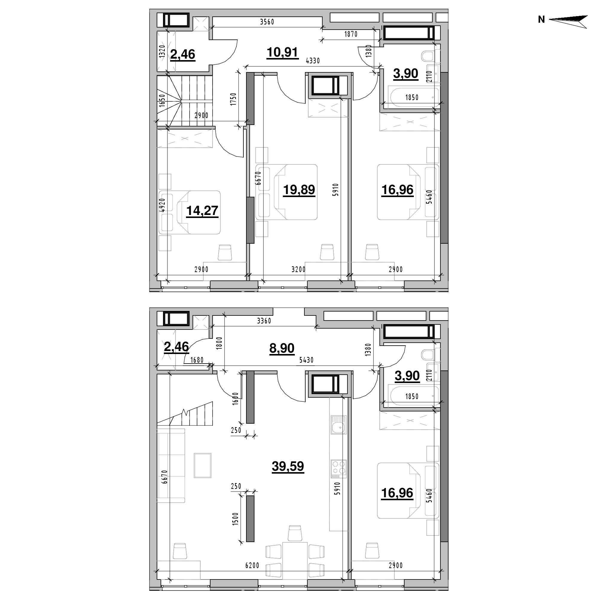 ЖК Nordica Residence: планування 4-кімнатної квартири, №211, 140.2 м<sup>2</sup>