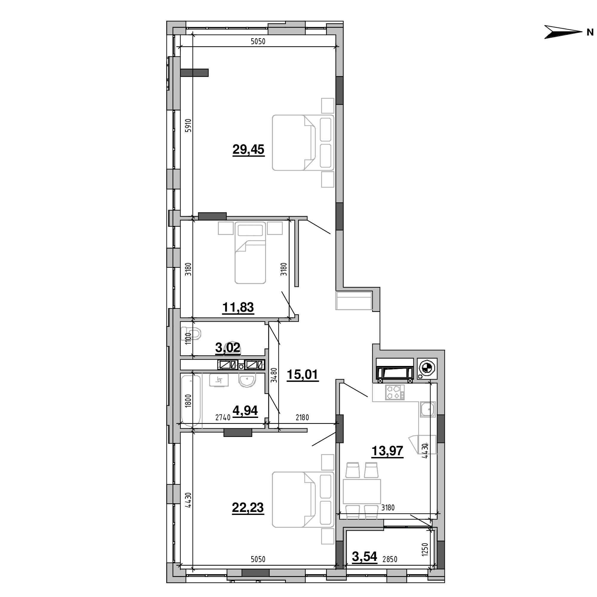 ЖК Підзамче. Вежа: планування 3-кімнатної квартири, №60, 103.99 м<sup>2</sup>